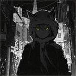 Аватар Девушка с нэко-ушками в капюшоне, со светящимися желтыми глазами, на ночной улице, art by ArseniXC
