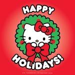 Аватар Hello Kitty в новогоднем веночке с бантиком на красном фоне (Happy Holidays! / Счастливых праздников!)