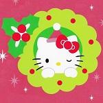 Аватар Hello Kitty с бантиком в новогоднем веночке на розовом фоне