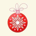Аватар Новогодний красный шар со снежинкой на белом фоне