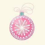 Аватар Новогодний розовый шар со снежинкой на белом фоне