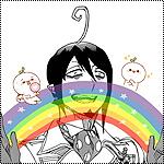 Аватар Mephisto Pheles / Фелес Мефисто из манги Ao no Exorcist / Синий экзорцист держит в руках радугу, на которой сидят два чудика с листочками на голове