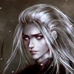 Аватар Парень с серыми волосами смотрит острым взглядом под ночным небом