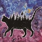 99px.ru аватар Черной кошка с лесом на спине