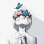 Аватар Мальчик в венке из роз на глазах поднял голову вверх