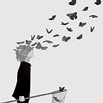 Аватар Мальчик с сачком распадается на бабочек