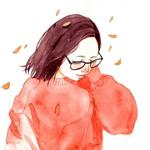 Аватар Девушка в очках под падающими осенними листьями