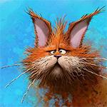 Аватар Рыжий кот на голубом фоне