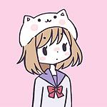 Аватар Девушка в шапочке-кошке на розовом фоне