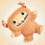 Аватар Веселый пушистый рогатый монстрик улыбается