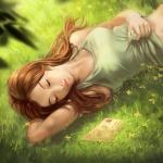 Аватар Девушка лежит на траве и смотрит на конверт