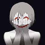 Аватар Мальчик закрыл лицо руками, на которых нарисовано кровью счастливое лицо, by avogado6