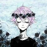 Аватар Парень с розовыми волосами в венке из роз