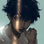 Аватар Темноволосый парень с полосой света на лице