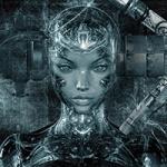 Аватар Девушка робот на фоне стены