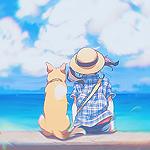 99px.ru аватар Девушка в шляпе и собака сидят на набережной