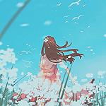 Аватар Девушка стоит на цветочном поле
