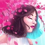 Аватар Девушка с закрытыми глазами под весенними цветами, by xaCupofArt