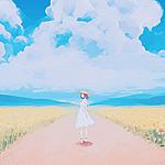Аватар Девушка в шляпке и белом платье стоит на дороге, по обеим сторонам которой растут подсолнухи