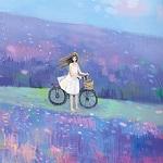 Аватар Девочка в белом платье с велосипедом стоит среди сиреневого поля