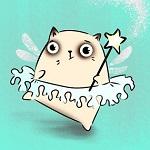 Аватар Белая киска -балеринка с крылышками