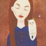 Аватар Девушка с кошкой на плече