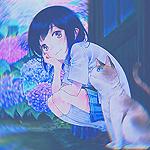 Аватар Девушка и кошка сидят возле кустов гортензии