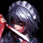 Аватар Izayoi Sakuya / Изаей Сакуя слизывает кровь с ножа в руке из игры Touhou / Тохо / Проект Восток