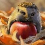 99px.ru аватар Ежик с яблоком на осенней листве, by steffchep