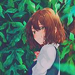 Аватар Девушка на фоне зеленых листьев