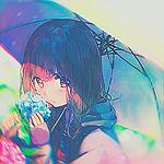 Аватар Смущенная и сердитая девушка с зонтом возле цветов гортензии