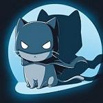 Аватар Кот в костюме бетмена в свете прожектора