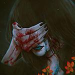 Аватар Девушка закрыла глаза окровавленной рукой, by NanFe