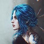 Аватар Плачущая девушка с синими волосами, by NanFe