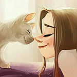 Аватар Девушка и кошка напротив друг друга
