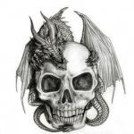 Аватар Черно-белый рисунок черепа, на котором сидит дракон