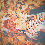 Конкурсная работа Девушка с листочком клена, закрывающим лицо, лежит в осенней листве
