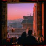 Аватар Девушка и парень сидят у открытого окна и любуются на вечеревшее небо с луной