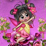 Аватар Девочка-эльф брюнетка с длинными волосами на розовом фоне с цветами в аолосах