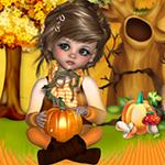 Аватар Девочка с заколкой в русых волосах сидит скрестив ноги на траве и держит в руках тыкву на фоне дерева с дуплом, тыквы и мухоморов