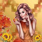 Аватар Девушка шатенка с длинными волосами держит в руке яблоко на фоне подсолнухов и осенних листьев