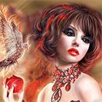 Аватар Девушка с длинными когтями держит яблоко на фоне птицы