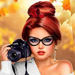 Аватар Девушка с рыжими волосами, собранными в высокую прическу с фотоаппаратом в руке