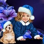 Аватар Девочка-снегурочка рядом с собакой, на собаке синий колпак с помпоном на фоне цветов