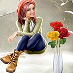 Аватар Девушка-шатенка в розовой шапке на фоне букета цветов в вазе