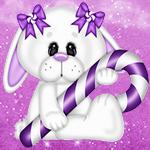 Аватар Белый заяц с сиреневыми бантами на ушах на розовом фоне