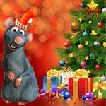 Аватар Серая крыса в новогодней шапочке на фоне новогодней елки и подарков