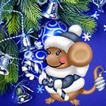 Аватар Крысенок в новогоднем костюме на фоне новогодней елки