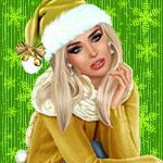 Аватар Девушка-блондинка в одежде снегурочки на фоне снежинок