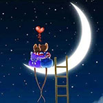 Аватар Две мышки сидят на роге луны на фоне звезд, сердечка и лестницы,